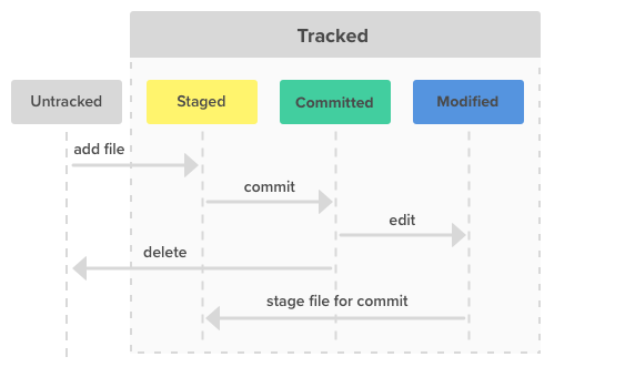 The three file states for Git: modified, staged, and committed.