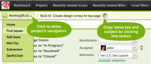 See issue's subject always.  Move to other pages within the project easier, too.