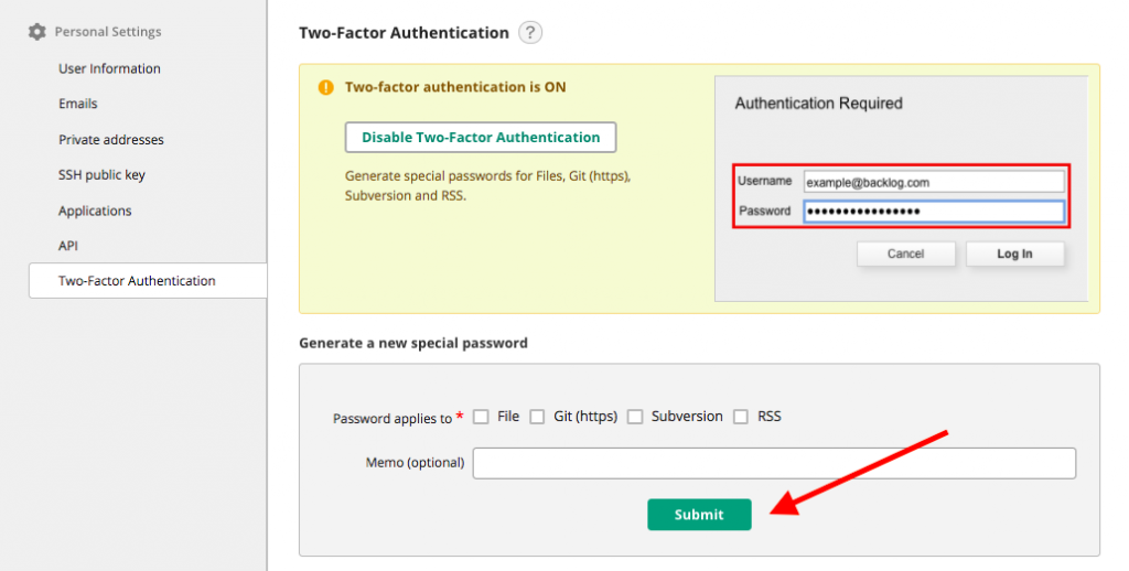 Generate special password in Backlog