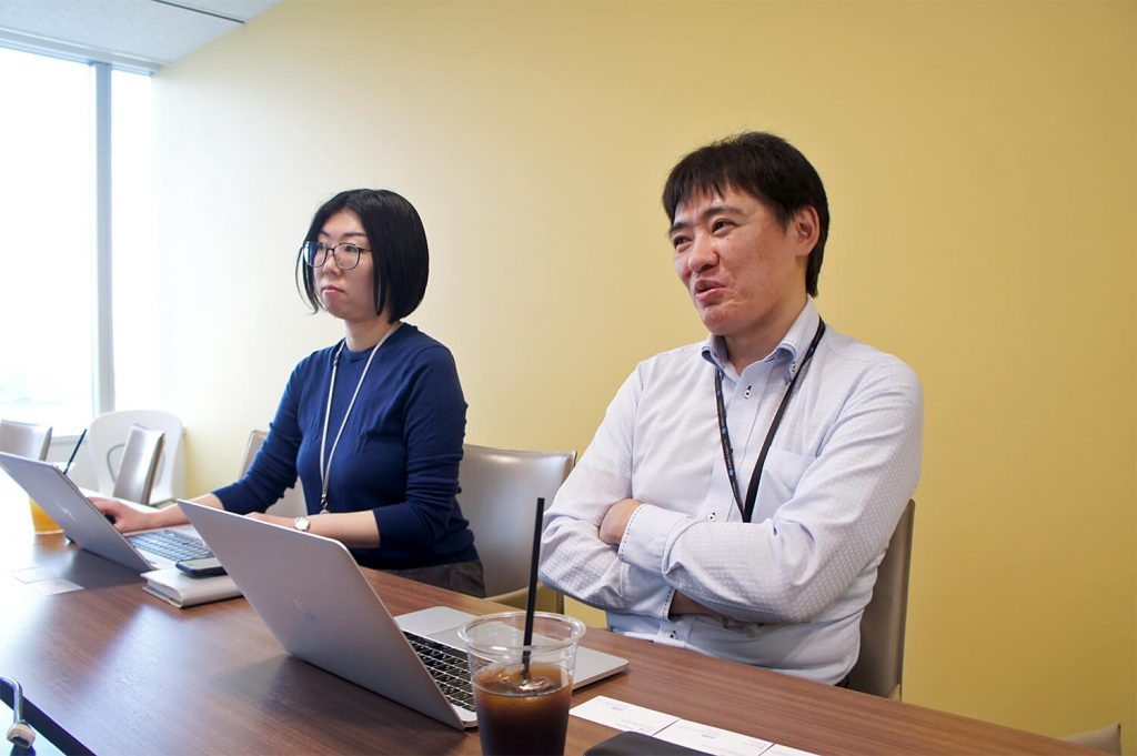 Konica Minolta Japan Shimoda Erika, Web Director, and Shuichi Takenaka, Team Leader