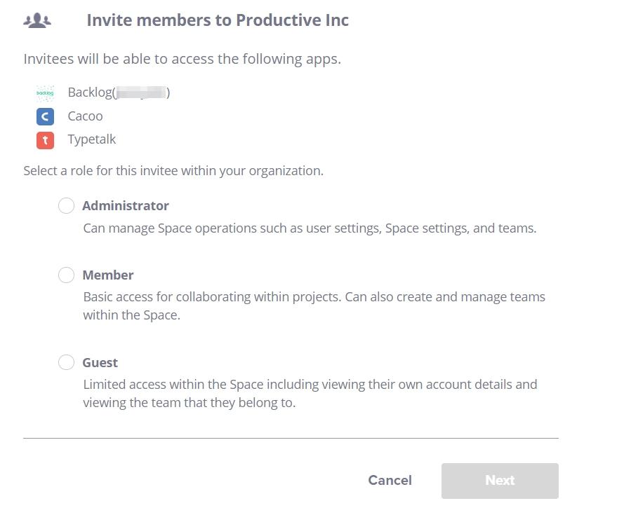 Invite member as admin, member or guest