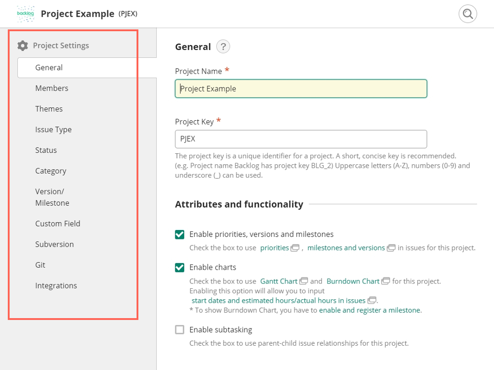 Project settings that can be accessed by project administrators