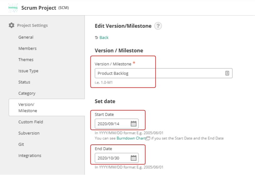 Setting milestones in project settings
