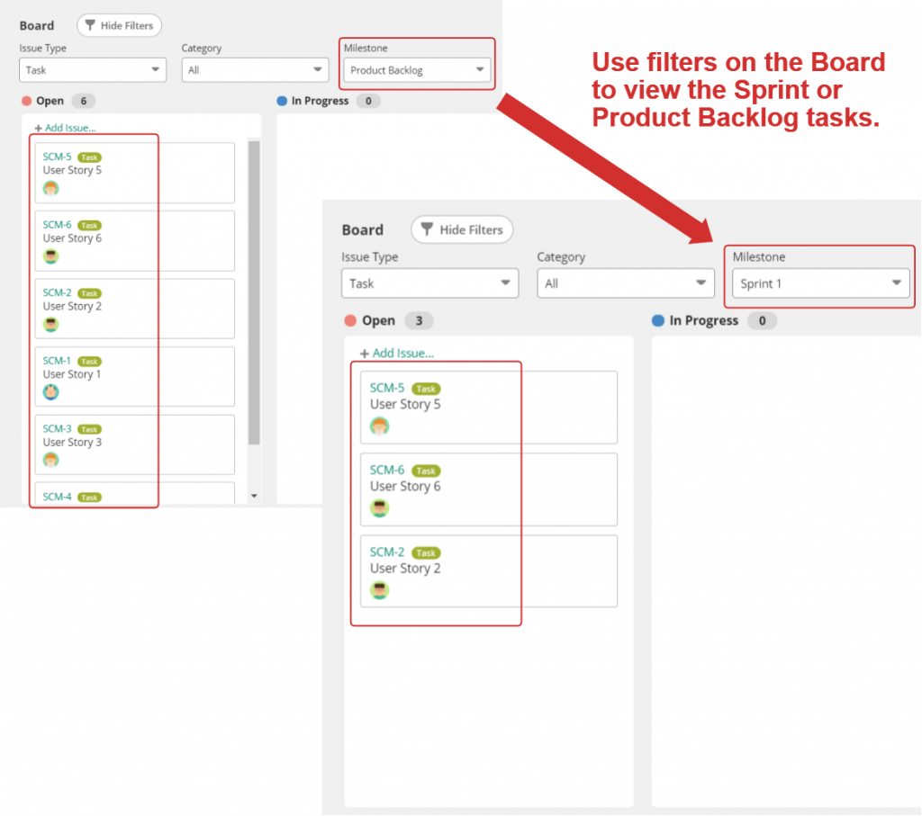 Use Board filters to view Sprint tasks